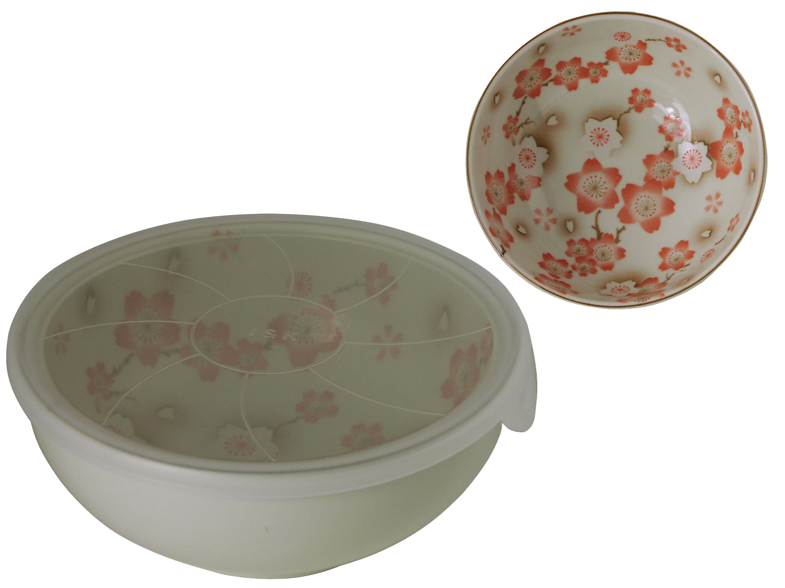 Cream And Pink Japanese Cherry Blossom Udon Bowl With Lid