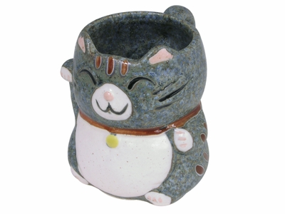 Cute Blue with Brown Speckle Maneki Neko Teacups (Last One)
