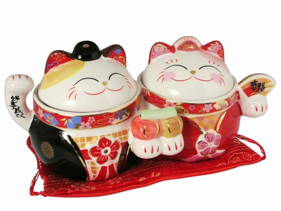 Cute Lucky Japanese Cat Newlywed Double Jars
