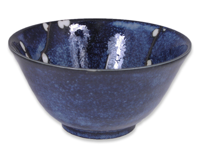 Dark Blue Cherry Blossom Japanese Sauce Bowl