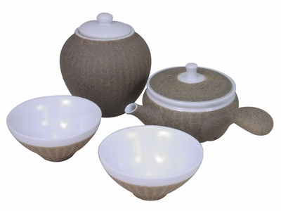 Desert Sand Traditional Chinese Tea Set for Two with Canister