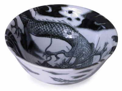 6 Inch Dragon in the Sky Black and White Japanese Udon Bowl