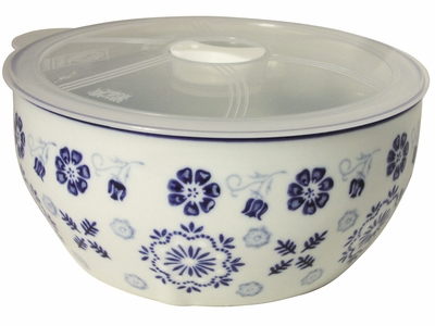 Early Spring Plum Blossoms Blue and White Ceramic Bowl with Microwavable Lid
