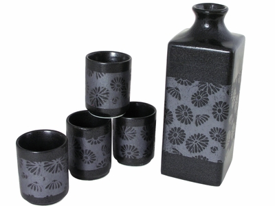 Earthen Alloy Chrysanthemum Metallic Grey and Black Sake Set for Four