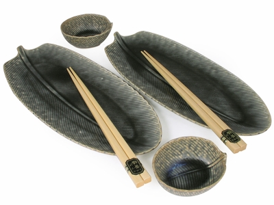 Earthen Banana Leaf Style Japanese Sushi Set for Two