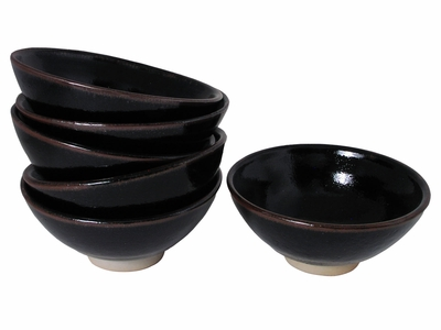 Earthen Black and Brown Japanese Rice Bowl Set for Six