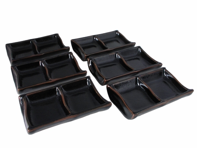 Earthen Black and Brown Japanese Soy Sauce Dishes Set for Six