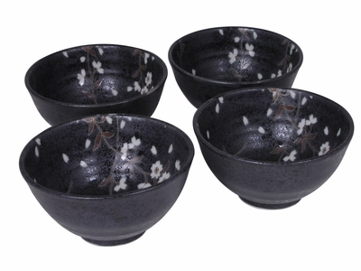 Earthen Black and Grey Japanese Cherry Blossom Rice Bowls Set for Four