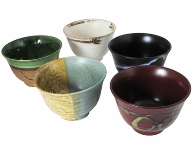 Earthen Japanese Serving Rice Bowls Set for Five