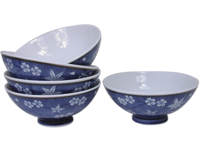 Elegant Blue and White Cherry Blossom and Maple Leaf Japanese Rice Bowl Set for Five
