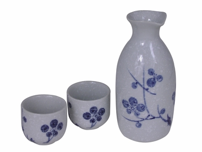 Elegant Winter Snow Cherry Blossom Sake Set for Two