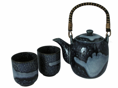 Evening Snow on Mountain Asian Tea Set for Two