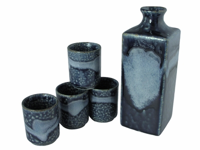 Evening Snow on Mountain Japanese Sake Serving Set for Four