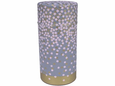 Falling Cherry Blossoms Gray and Gold Washi Paper Tea Container
