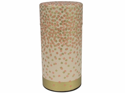 Falling Gold and Pink Cherry Blossoms Cream Japanese Tea Canister