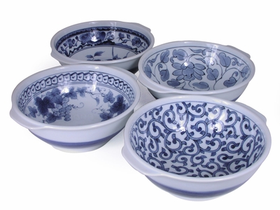 Floral Garden Japanese Blue and White Bowls Set for Four