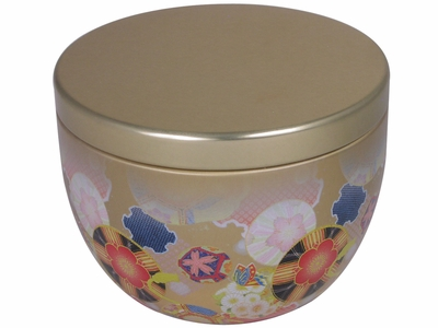 Flurries of Cherry Blossoms and Chrysanthemums Decorative Japanese Tea Caddy