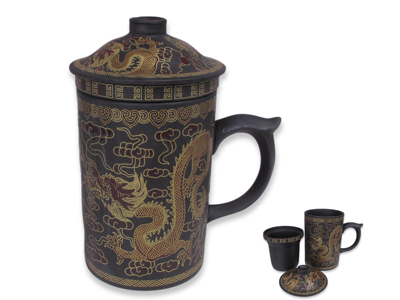 Golden Dragon Yixing Tea Mug with Strainer and Lid (Dark Brown)