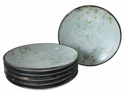 Green Cherry Blossom Collection Chinese Plates Set of Six