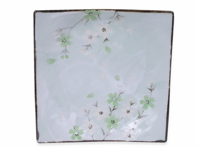 Green Cherry Blossom Collection Square Japanese Plate (LAST ONE)