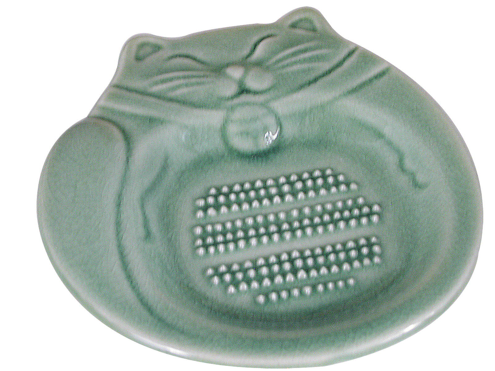 Green Japanese Lucky Cat Ceramic Ginger Grater