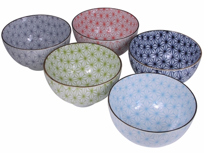 Hexagonal Starburst Japanese Rice Bowl Set for Five