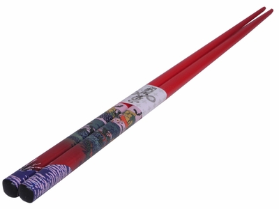 Hokusai's Red Fuji on Red Authentic Chopsticks