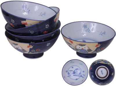 Idyllic Owls Multi-Colored Ceramic Japanese Rice Bowl Set for Five