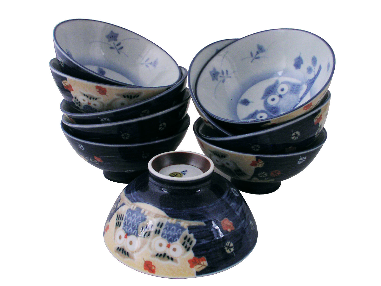 Idyllic Owls Multi Colored Ceramic Japanese Rice Bowl Set