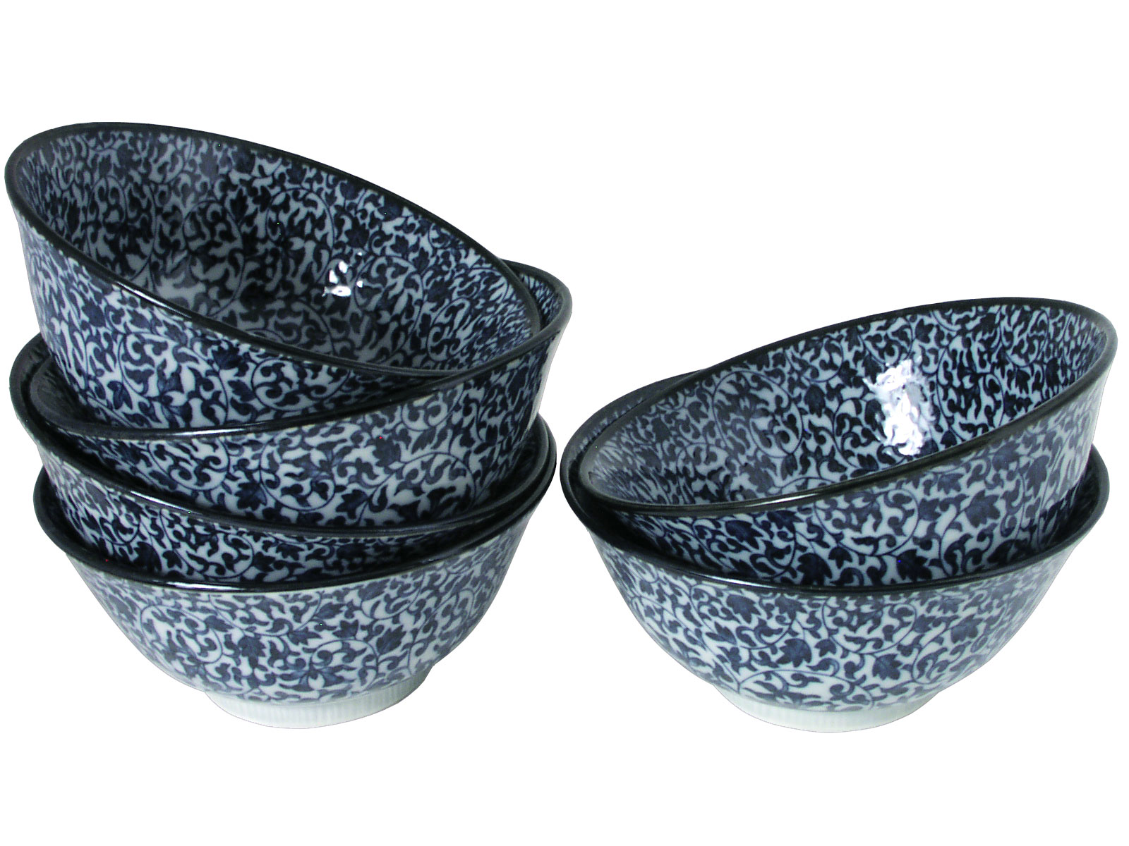 Intricate Blue And White Vine Motif Japanese Cereal Bowl