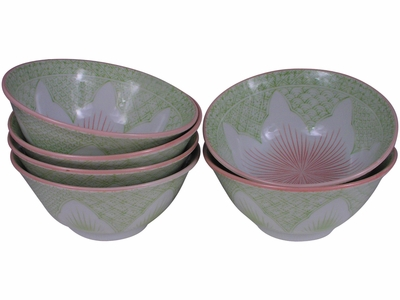 Intricate Pink Cherry Blossom on Green Porcelain Rice Bowls Set for Six