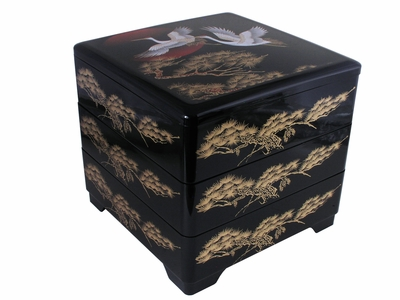 Japanese Cranes at Dusk Lacquered Bento Box with Cover