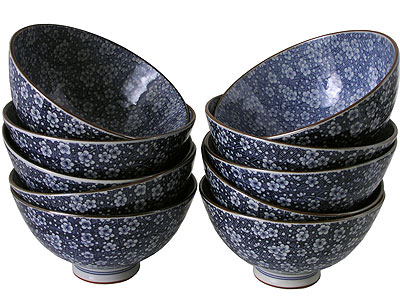 Japanese Plum Blossoms Blue and White Rice Bowls Set for Ten