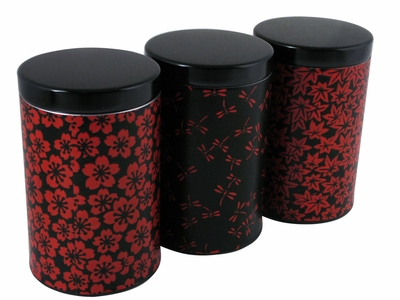 Japanese Spring Summer Fall Red and Black Airtight Tea Tin Set of Three