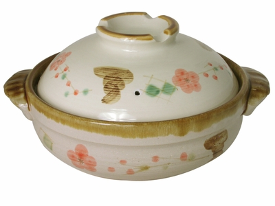 Large Earthen Pink Cherry Blossom and Traditional Pattern Japanese Clay Pot