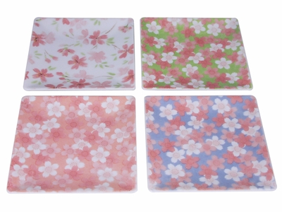Light of Spring Cherry Blossom Square Japanese Dish Set of Four (8 Sets Available)