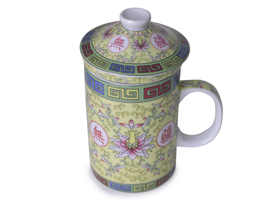 Longevity Chinese Symbol Yellow Tea Mug with Strainer and Lid  (ONE CUP ONLY)