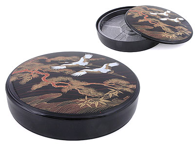 Longevity Gold & Black Crane Bento Lunch Boxes
