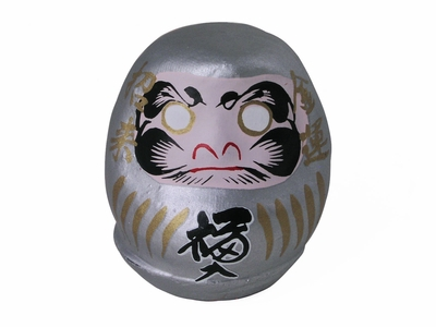 Lucky Charming Silver Traditional Daruma Doll