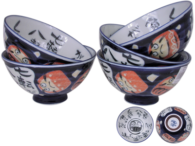 Lucky Japanese Daruma Rice Bowls Set for Five