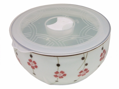 Medium Sized Cherry Blossom Asian Bowl with Lid