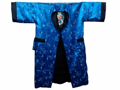 Men's Blue and Black Chinese Robe Extra Large