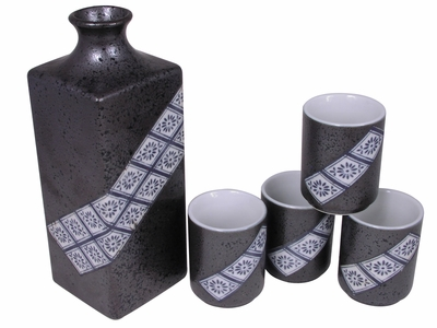Metallic Grey with Black Speckle Chrysanthemum Japanese Saki Set for Four