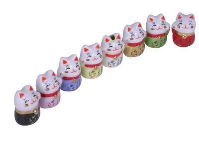 Minature Adorable Maneki Neko Good Luck Charm (One Cat Only)