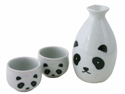 Minimalist's Panda Ceramic Sake Set for Two