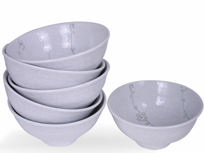 Minimalist White Cherry Blossom Collection Japanese Rice Bowl Set for Six
