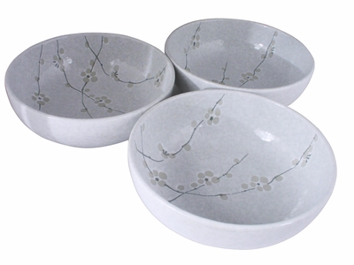 Minimalist White Cherry Blossom Collection Large Japanese Bowls Set for Three