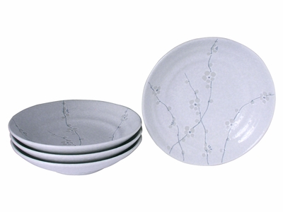 Minimalist White Cherry Blossom Collection Shallow Japanese Ceramic Bowls Set for Four