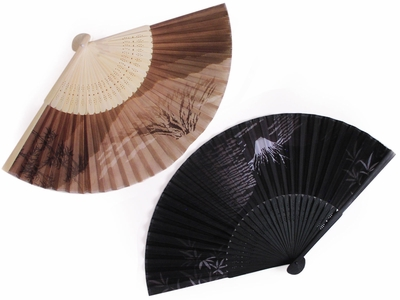 Modern and Neutral Mt Fuji Bamboo Folding Fan Set of Two