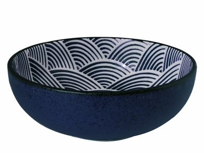 Modern Blue and White Japanese Wave Flat Curved Japanese Ramen Bowl